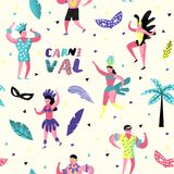 Carnival Seamless Pattern with Dancing Character People. Masqeurade Party Background with Masks. And Festive Symbols for Fabric, Wallpaper. Vector illustration Royalty Free Stock Photography