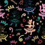 Carnival seamless pattern with dancing funny cartoon cats. stock photo