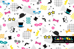 Carnival seamless pattern in Memphis style. Vector background with carnival symbols geometric ornaments in the style of 80-90 Stock Photos