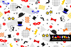Carnival seamless pattern in Memphis style. Vector background with carnival symbols geometric ornaments in the style of 80-90 Royalty Free Stock Images