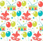 Carnival seamless pattern. Purim repetitive texture. Holiday, masquerade, festival, birthday party. Endless background stock illustration