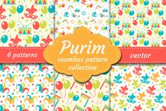 Carnival seamless pattern set. Collection Purim background. Holiday, masquerade, festival, birthday party. Endless royalty free illustration