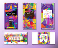 Carnival firework. Set of Carnival, Festival, Masquerade Mardi Gras poster, invitation design. Vector illustration layout. Funfair, parade funny tickets, banners