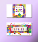 Carnival. Set of Carnival, Festival, Music Masquerade Mardi Gras poster, invitation design. Vector illustration. Funfair, parade funny flyer, placard, tickets Stock Images