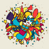 Carnival show background with doodle icons and. Objects Royalty Free Stock Image