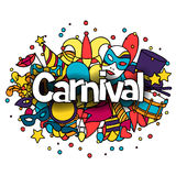 Carnival show background with doodle icons and. Objects Stock Photo