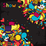 Carnival show background with doodle icons and. Objects Stock Photography