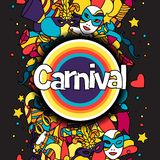 Carnival show background with doodle icons and. Objects Stock Images