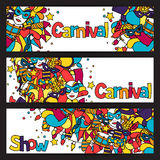 Carnival show banners with doodle icons and Stock Images