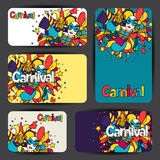 Carnival show cards with doodle icons and objects Stock Images