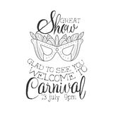Carnival Show Hand Drawn Monochrome Mardi Gras Event Vintage Promotion Sign In Pencil Sketch Style With Calligraphic Stock Photography