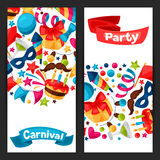 Carnival show and party banners with celebration Royalty Free Stock Photos