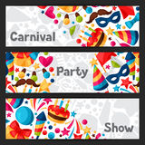 Carnival show and party banners with celebration Stock Photos