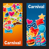 Carnival show and party banners with celebration Stock Image
