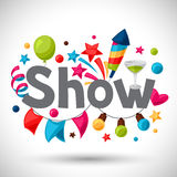 Carnival show and party greeting card with Stock Image