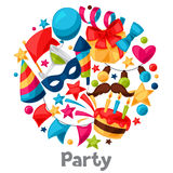 Carnival show and party greeting card with. Celebration objects Stock Photography