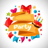 Carnival show and party greeting card with. Celebration objects Stock Images