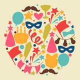 Carnival show and party greeting card with. Celebration objects Royalty Free Stock Photos