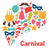 Carnival show and party greeting card with. Celebration objects Stock Image
