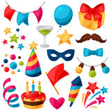 Carnival show and party set of celebration objects Royalty Free Stock Photography