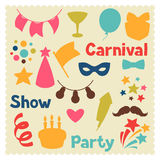 Carnival show and party set of celebration objects Royalty Free Stock Photo