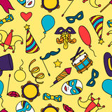 Carnival show seamless pattern with doodle icons Royalty Free Stock Image