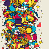 Carnival show seamless pattern with doodle icons Stock Photography