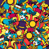 Carnival show seamless pattern with doodle icons Stock Photos
