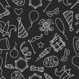 Carnival show seamless pattern with doodle icons Royalty Free Stock Photography