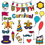 Carnival show set of doodle icons and objects Stock Photo