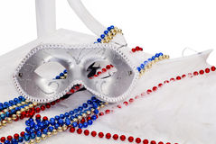 Carnival silver Mask. Carnival silver  Mask background with beads Royalty Free Stock Photo