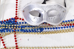 Carnival silver Mask wirh color beads. Over white Stock Photography