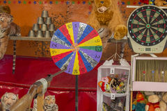 Carnival skill game,  rifle shooting range. Many carnivals still  games of chance and skill. Games like the Crossbow Shoot and Rifle Range games, will test an Stock Photography