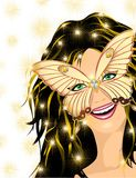 Carnival Smiling Girl. A Smiling girl's face with a Butterfly Carnival Mask Royalty Free Stock Photo