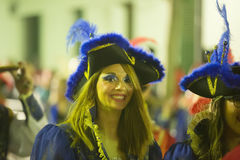 Carnival at Spain in evening time. Sitges, Catalonia. SITGES,  SPAIN - FEBRUARY 10, 2016:   Carnival at Spain in evening time. Sitges, Catalonia Royalty Free Stock Images