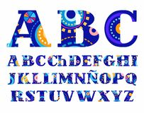 Carnival, Spanish alphabet, vector font, capital letters. Colored letters Spanish and Portuguese alphabet with serif. Drawing on the letters, similar to Royalty Free Stock Images