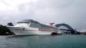 Carnival Spirit Cruise Ship and Bridge royalty free stock photography