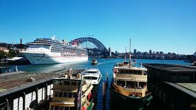 Carnival Spirit Parking at Circular Quay Royalty Free Stock Images