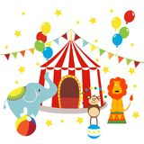 Carnival with striped tents, cheerful circus, elephant, lion and monkey. Vector illustration stock illustration