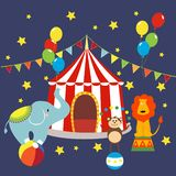 Carnival with striped tents, cheerful circus, elephant, lion and monkey. stock illustration