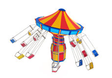 Carnival Swing Ride. Isolated on white background. 3D render Stock Photography