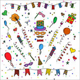 Carnival symbols collection - carnival masks, party decorations. Stock Images