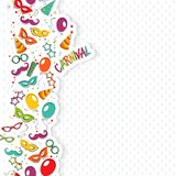 Carnival template. Festive page with carnival icons and objects. Vector party poster template Royalty Free Stock Photography