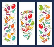 Carnival template. Festive page with carnival icons and objects. Vector party poster template Royalty Free Stock Images