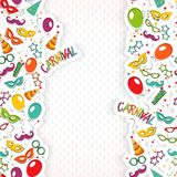 Carnival template. Festive page with carnival icons and objects. Vector party poster template Stock Images