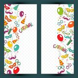 Carnival template. Festive page with carnival icons and objects. Vector party poster template Royalty Free Stock Photos