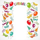 Carnival template. Festive page with carnival icons and objects. Vector party poster template Royalty Free Stock Photo