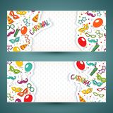 Carnival template. Festive page with carnival icons and objects. Vector party poster template Stock Photo