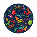 Carnival template. Festive page with carnival icons and objects. Vector party poster template Stock Photos