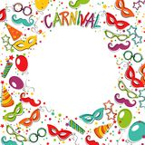 Carnival template. Festive page with carnival icons and objects. Vector party poster template Royalty Free Stock Image